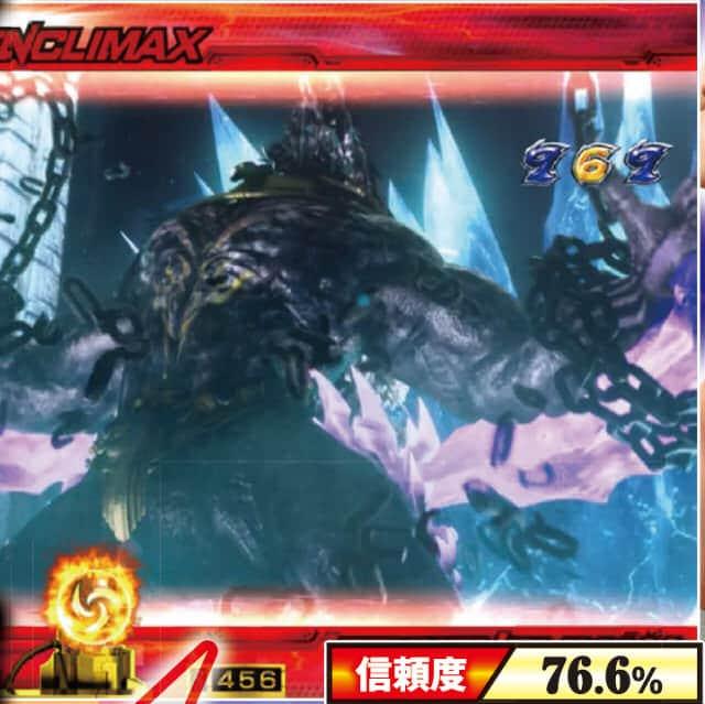 CR鉄拳2闘神ver.のクライマックス系魔獣覚醒リーチの信頼度の一覧表