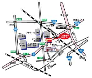 愛知県 メガコンコルド1020刈谷知立店 知立市上重原町 案内図