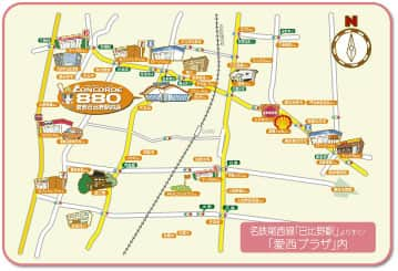 愛知県 コンコルド880愛西日比野駅前店 愛西市柚木町 案内図