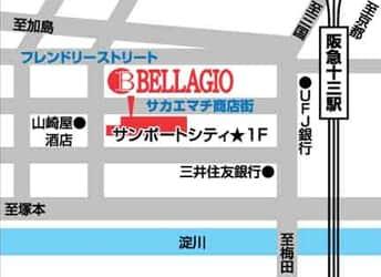 大阪府 ベラジオ十三店 大阪市淀川区十三本町 案内図