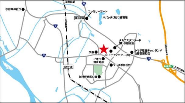 秋田県 ダイナム秋田御所野店 秋田市御所野下堤 案内図
