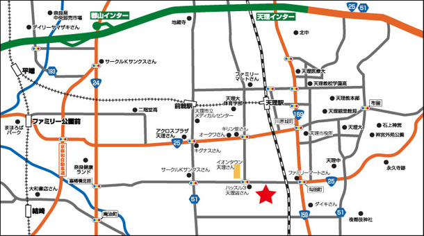 奈良県 ダイナム奈良天理店 天理市田町 案内図