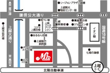 新潟県 ミッド・ガーデン上越店 上越市大道福田 案内図