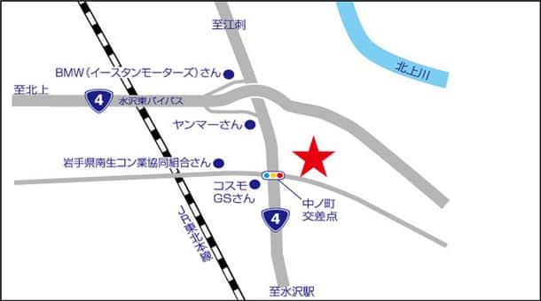 岩手県 ダイナム水沢店 奥州市水沢区佐倉河 案内図