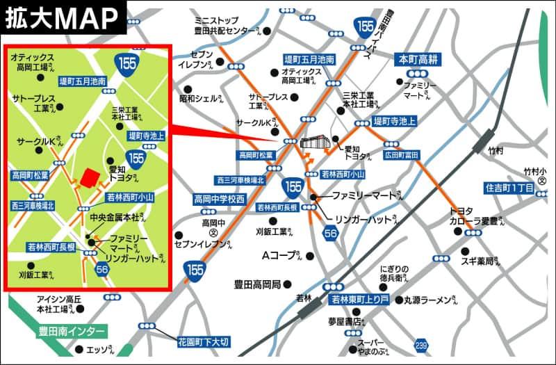 愛知県 ZENT 豊田本店 豊田市若林西町 案内図