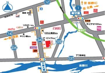 徳島県 nikko上板イオンタウン店 板野郡上板町椎本 案内図