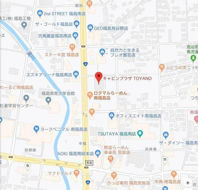 福島県 キャビンプラザ TOYANO店 福島市鳥谷野 案内図