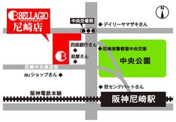 兵庫県 BELLAGIO 尼崎店 尼崎市神田中通 案内図