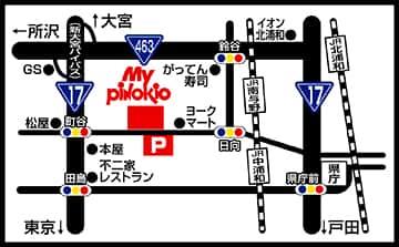 埼玉県 MYピノキオ浦和西店 さいたま市桜区南元宿 案内図