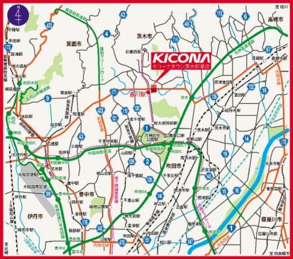 大阪府 キコーナタウン(茨木) 茨木市豊川 案内図