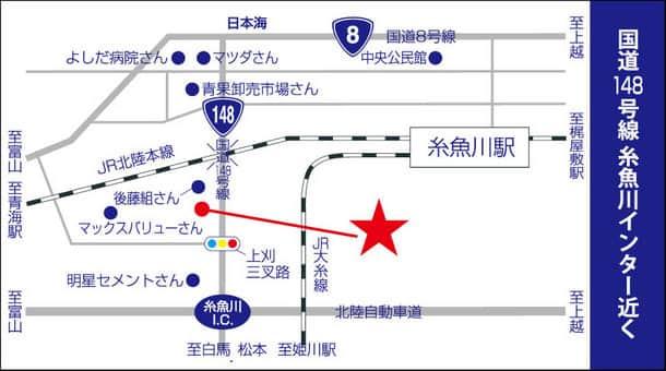 新潟県 ダイナム糸魚川店 糸魚川市上刈 案内図