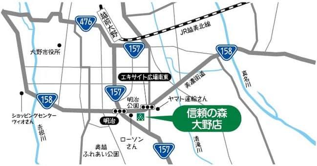 福井県 ダイナム信頼の森福井大野店 大野市春日 案内図