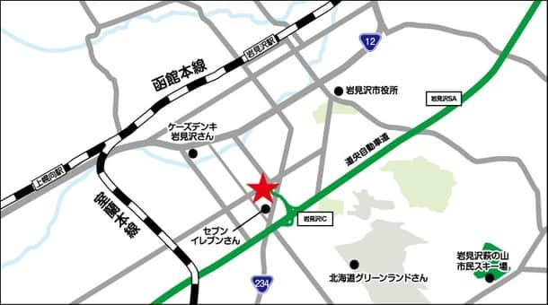 北海道 ダイナム北海道岩見沢南店 岩見沢市南町7条 案内図
