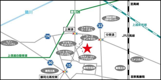 群馬県 ダイナム群馬藤岡店 藤岡市中栗須 案内図