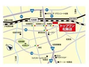 三重県 トップワン松阪店 松阪市垣鼻町 案内図