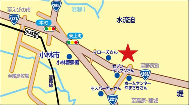 宮崎県 ダイナム宮崎小林店 小林市水流迫 案内図