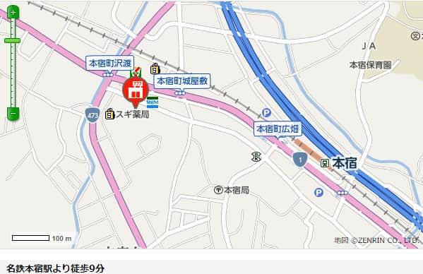 愛知県 新宿本宿店 岡崎市本宿町 案内図