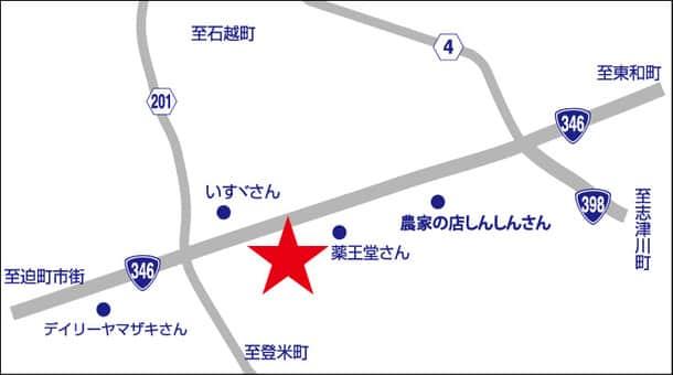 宮城県 ダイナム中田店 登米市中田町石森 案内図