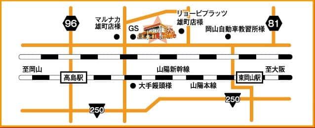 岡山県 パチンコバージン雄町店 岡山市中区雄町 案内図