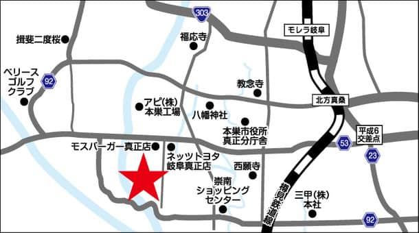岐阜県 ダイナム岐阜本巣店 本巣市温井 案内図