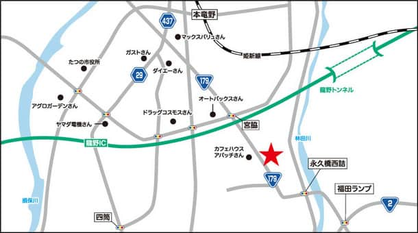 兵庫県 ダイナム兵庫たつの店 たつの市誉田町広山 案内図