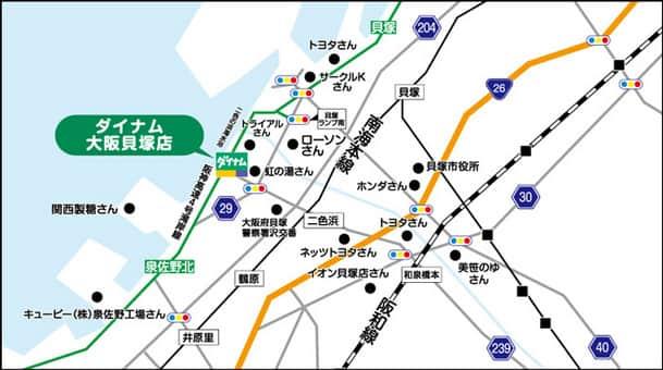 大阪府 ダイナム大阪貝塚店 貝塚市澤 案内図