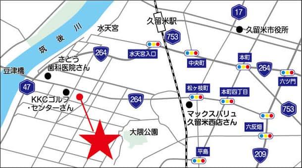 福岡県 ダイナム福岡久留米店 久留米市梅満町 案内図