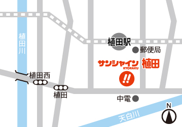 愛知県 サンシャインKYORAKU植田 名古屋市天白区植田 案内図
