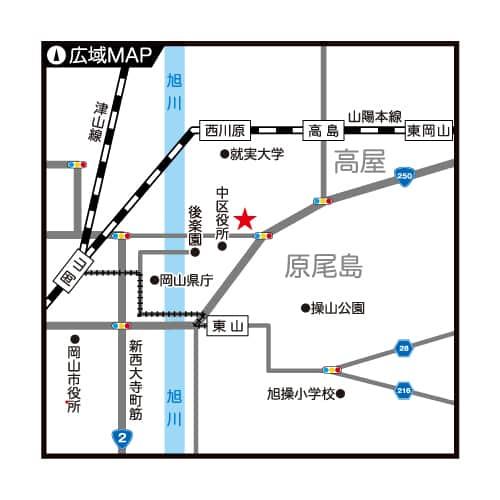 岡山県 パーラー・ザ・ゴルフ 岡山市中区原尾島 案内図