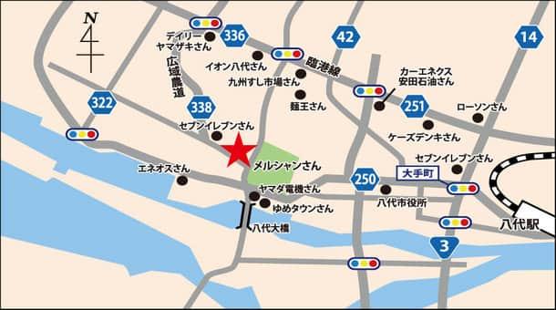 熊本県 ダイナム熊本八代築添店 八代市築添町 案内図