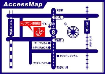 滋賀県 トップワン豊郷店 犬上郡豊郷町安食西 案内図