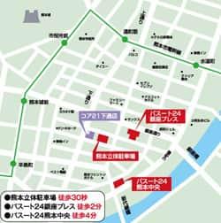 熊本県 コア21下通店 熊本市中央区下通 案内図
