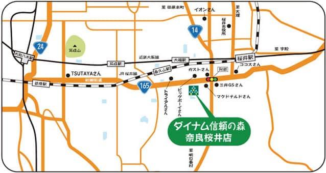 奈良県 ダイナム信頼の森 奈良桜井店 桜井市吉備 案内図