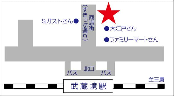 東京都 ダイナム武蔵境店 武蔵野市境 案内図