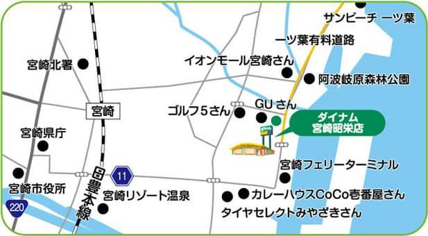 宮崎県 ダイナム宮崎昭栄店 宮崎市昭栄町 案内図