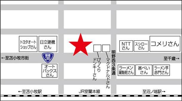 北海道 ダイナム苫小牧東店 苫小牧市新開町 案内図
