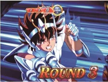 聖闘士星矢(セイントセイヤ)海皇覚醒のGBラウンド開始画面の聖矢青背景