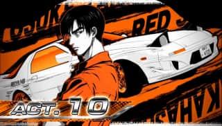 スロット頭文字D(スロットイニシャルD)のセット開始画面(オレンジ背景)