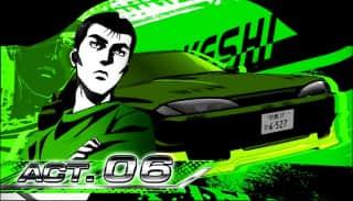 スロット頭文字D(スロットイニシャルD)のセット開始画面(緑背景)