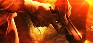 スロット バイオハザード7のCB終了画面(オレンジ背景銃アップ)