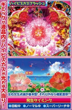 スーパー海物語IN沖縄4のハイビスカスモード中の予告の紹介