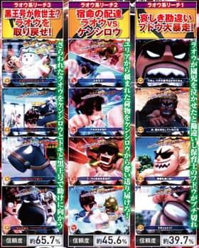 ぱちんこCR DD北斗の拳のラオウ系リーチの信頼度の一覧表