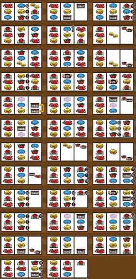 ハナビの左リール七付近のボーナス成立ゲーム濃厚目