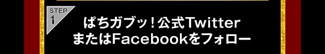 STEP1 ぱちガブッ!公式TwitterまたはFacebookをフォロー